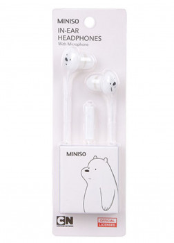 Наушники - вкладыши с микрофоном We Bare Bears  (White)